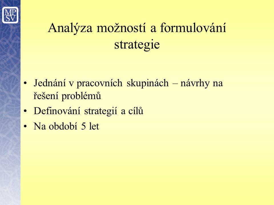 Analýza možností a formulování strategie Jednání v pracovních skupinách – návrhy na řešení problémů Definování strategií a cílů Na období 5 let
