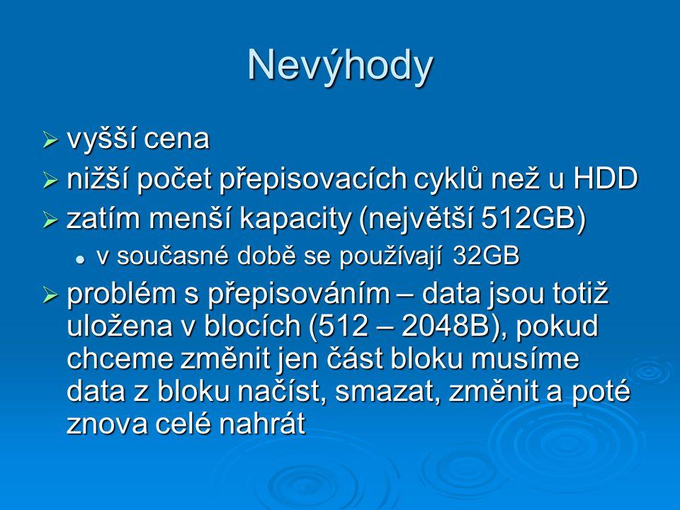 Nevýhody  vyšší cena  nižší počet přepisovacích cyklů než u HDD  zatím menší kapacity (největší 512GB) v současné době se používají 32GB v současné