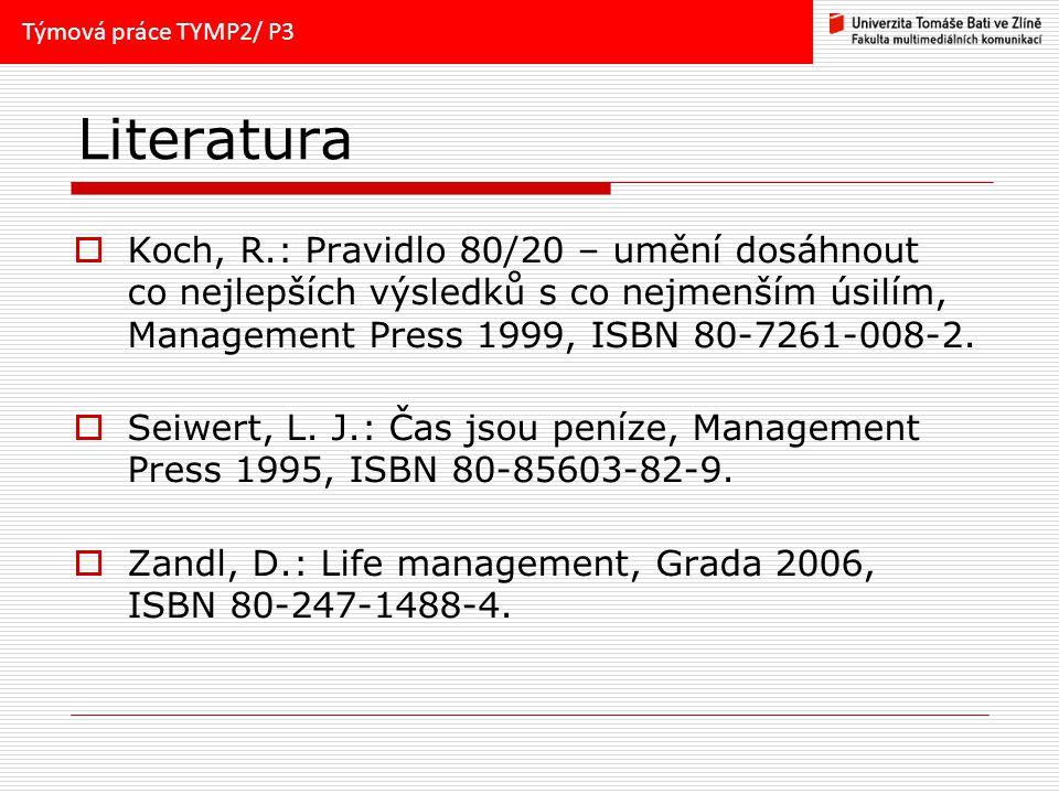 Literatura  Koch, R.: Pravidlo 80/20 – umění dosáhnout co nejlepších výsledků s co nejmenším úsilím, Management Press 1999, ISBN 80-7261-008-2.  Sei