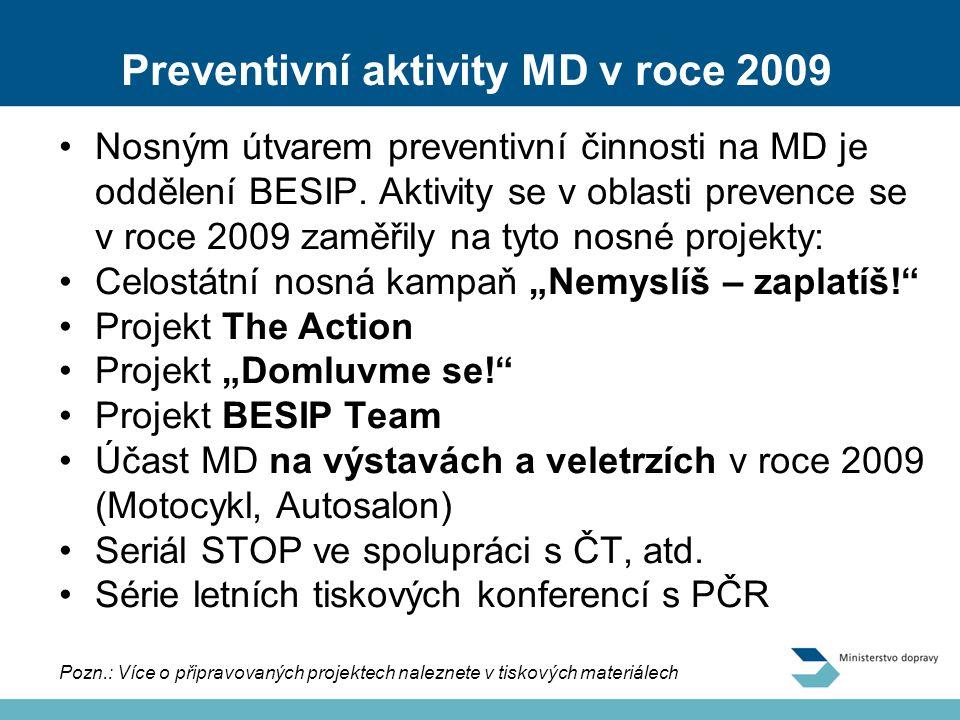 Preventivní aktivity MD v roce 2009 Nosným útvarem preventivní činnosti na MD je oddělení BESIP.