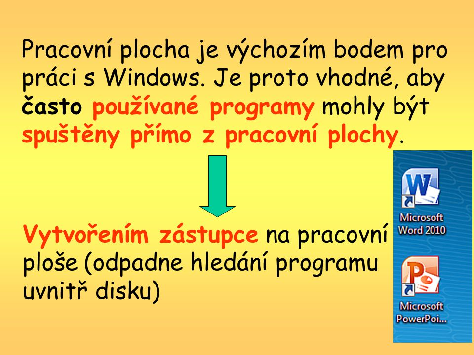Pracovní plocha je výchozím bodem pro práci s Windows.