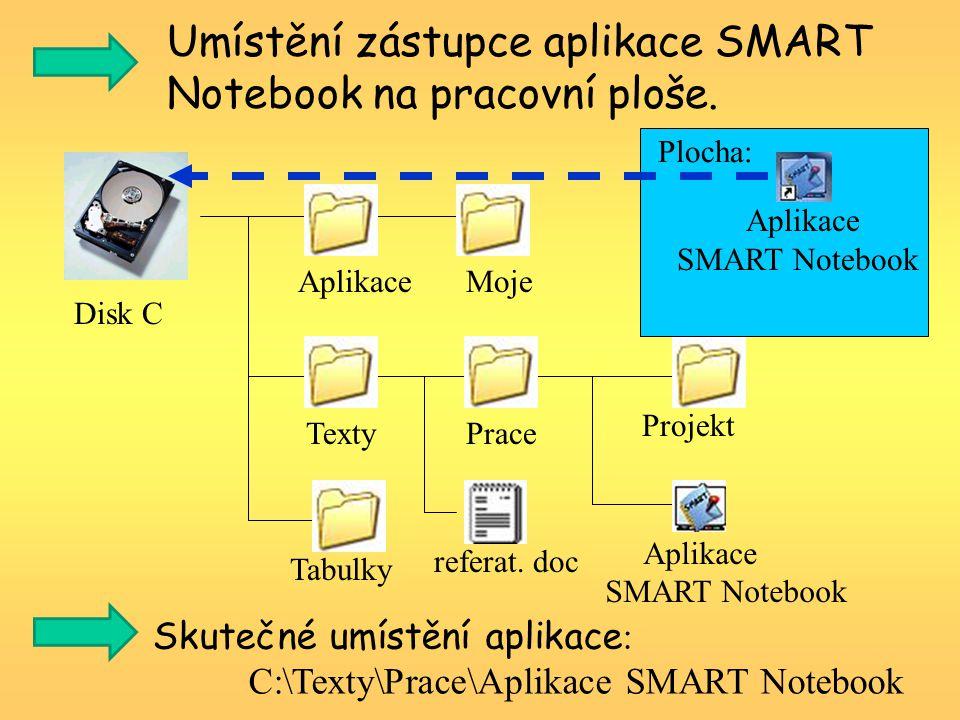 Umístění zástupce aplikace SMART Notebook na pracovní ploše.