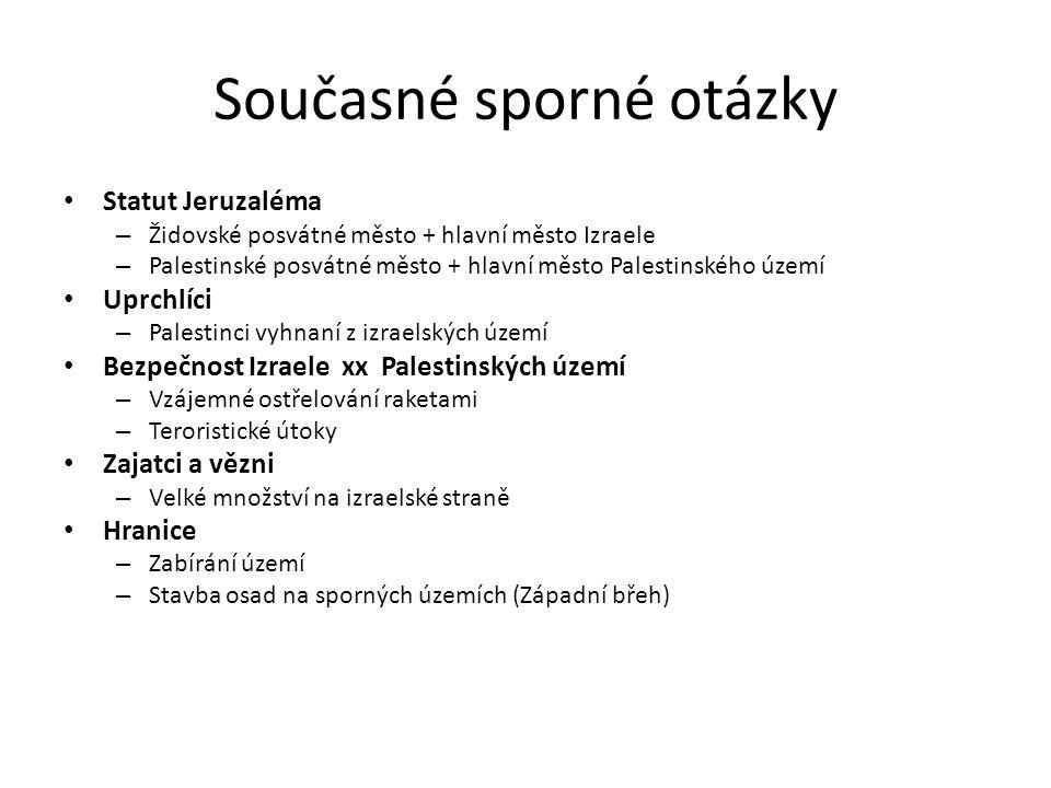 Současné sporné otázky Statut Jeruzaléma – Židovské posvátné město + hlavní město Izraele – Palestinské posvátné město + hlavní město Palestinského úz