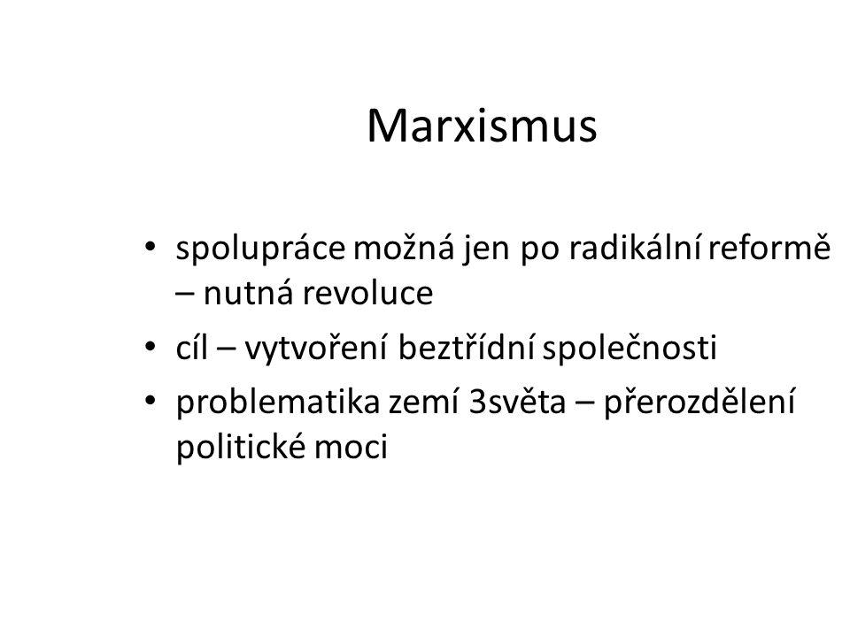 Marxismus spolupráce možná jen po radikální reformě – nutná revoluce cíl – vytvoření beztřídní společnosti problematika zemí 3světa – přerozdělení pol
