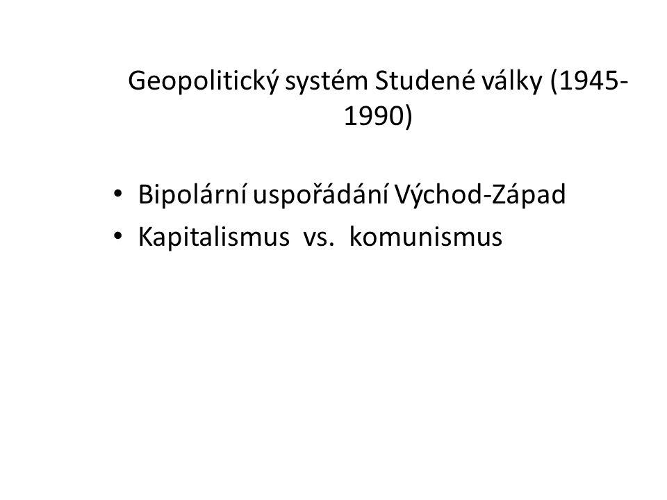 Geopolitický systém Studené války (1945- 1990) Bipolární uspořádání Východ-Západ Kapitalismus vs. komunismus
