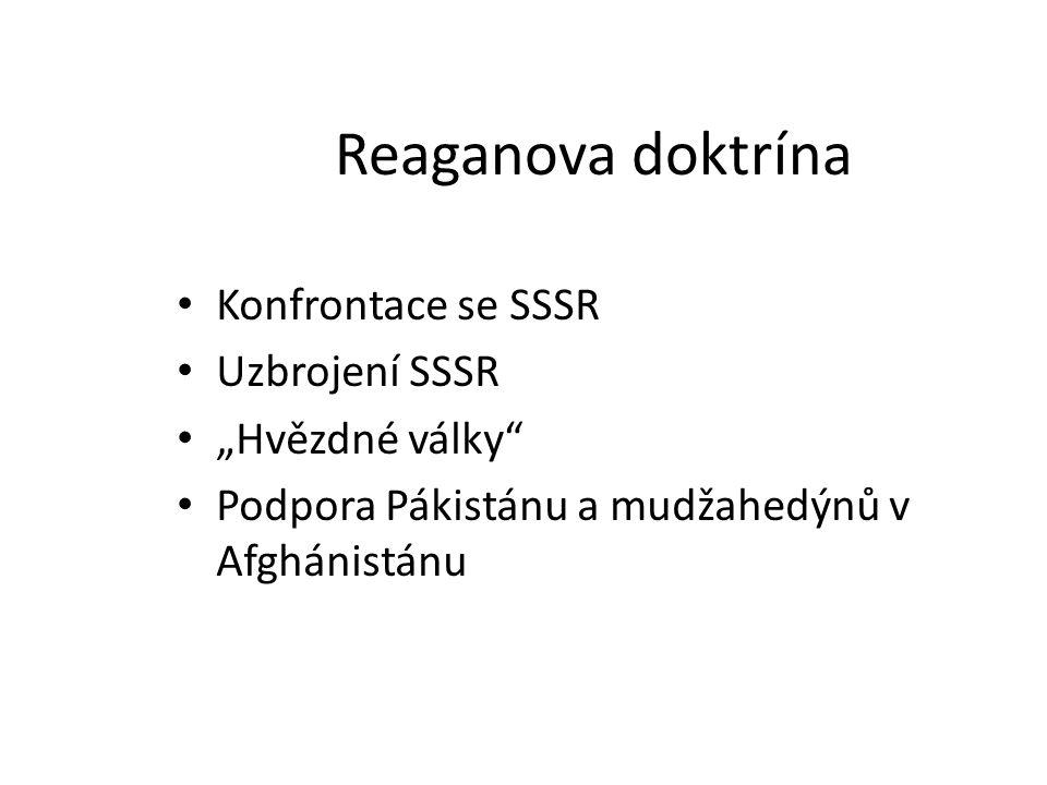 """Reaganova doktrína Konfrontace se SSSR Uzbrojení SSSR """"Hvězdné války"""" Podpora Pákistánu a mudžahedýnů v Afghánistánu"""