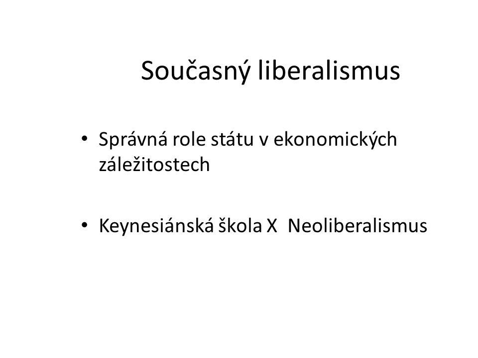 Současný liberalismus Správná role státu v ekonomických záležitostech Keynesiánská škola X Neoliberalismus