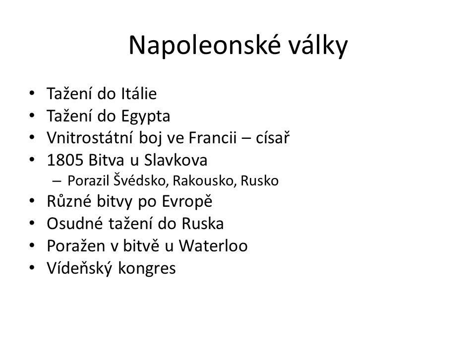 Napoleonské války Tažení do Itálie Tažení do Egypta Vnitrostátní boj ve Francii – císař 1805 Bitva u Slavkova – Porazil Švédsko, Rakousko, Rusko Různé