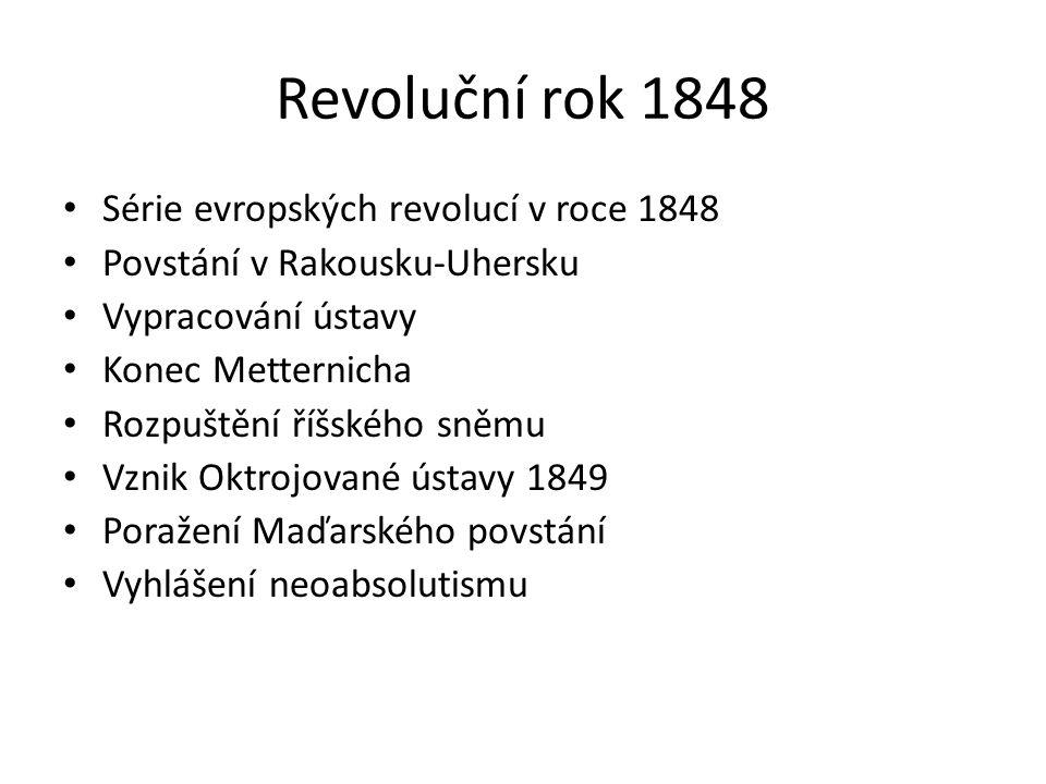 Revoluční rok 1848 Série evropských revolucí v roce 1848 Povstání v Rakousku-Uhersku Vypracování ústavy Konec Metternicha Rozpuštění říšského sněmu Vz