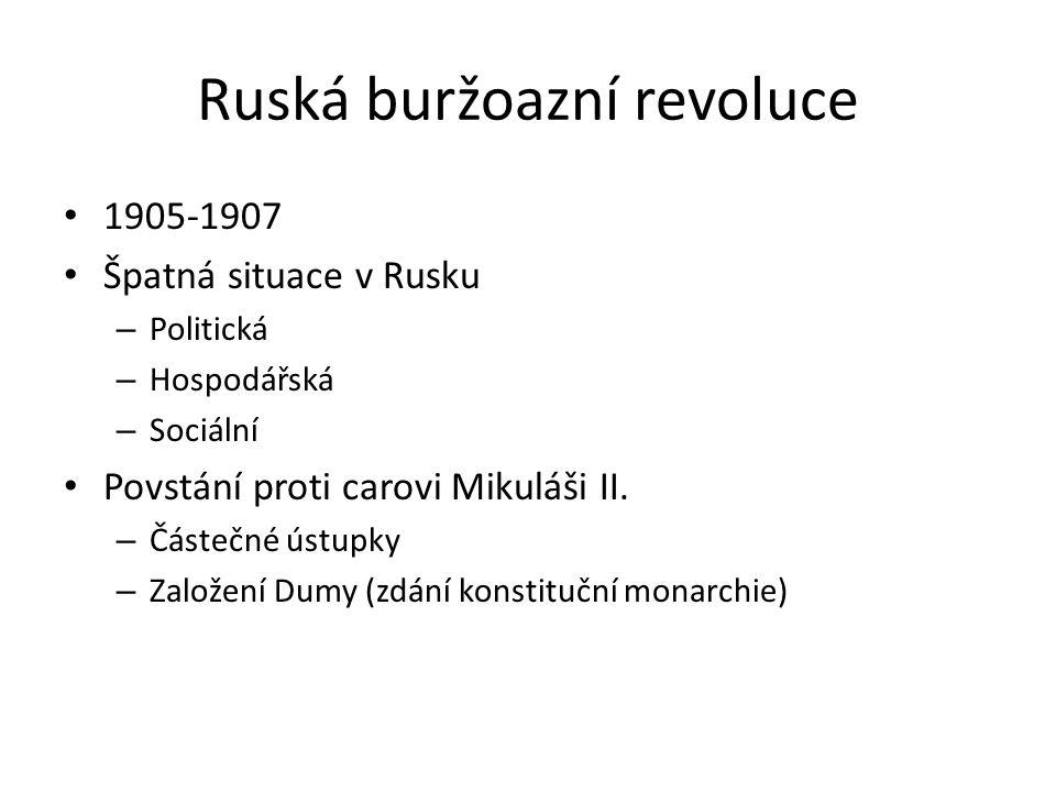 Ruská buržoazní revoluce 1905-1907 Špatná situace v Rusku – Politická – Hospodářská – Sociální Povstání proti carovi Mikuláši II. – Částečné ústupky –