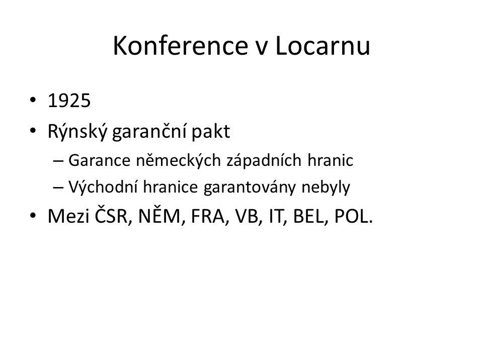 Konference v Locarnu 1925 Rýnský garanční pakt – Garance německých západních hranic – Východní hranice garantovány nebyly Mezi ČSR, NĚM, FRA, VB, IT,
