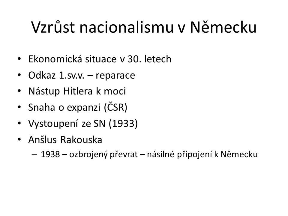 Vzrůst nacionalismu v Německu Ekonomická situace v 30. letech Odkaz 1.sv.v. – reparace Nástup Hitlera k moci Snaha o expanzi (ČSR) Vystoupení ze SN (1