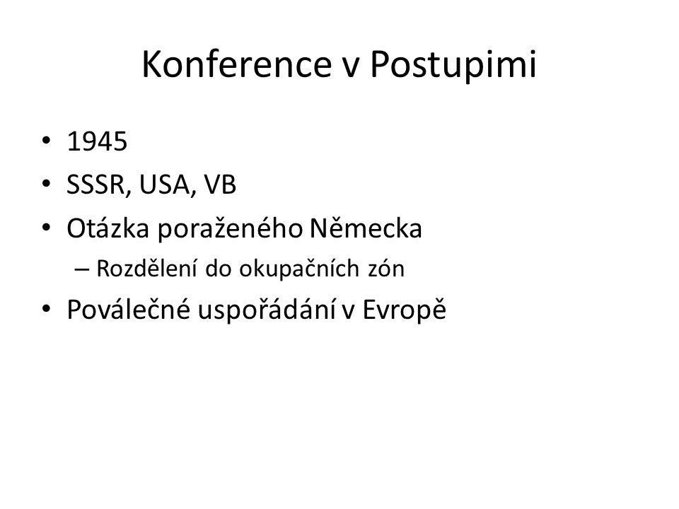 Konference v Postupimi 1945 SSSR, USA, VB Otázka poraženého Německa – Rozdělení do okupačních zón Poválečné uspořádání v Evropě