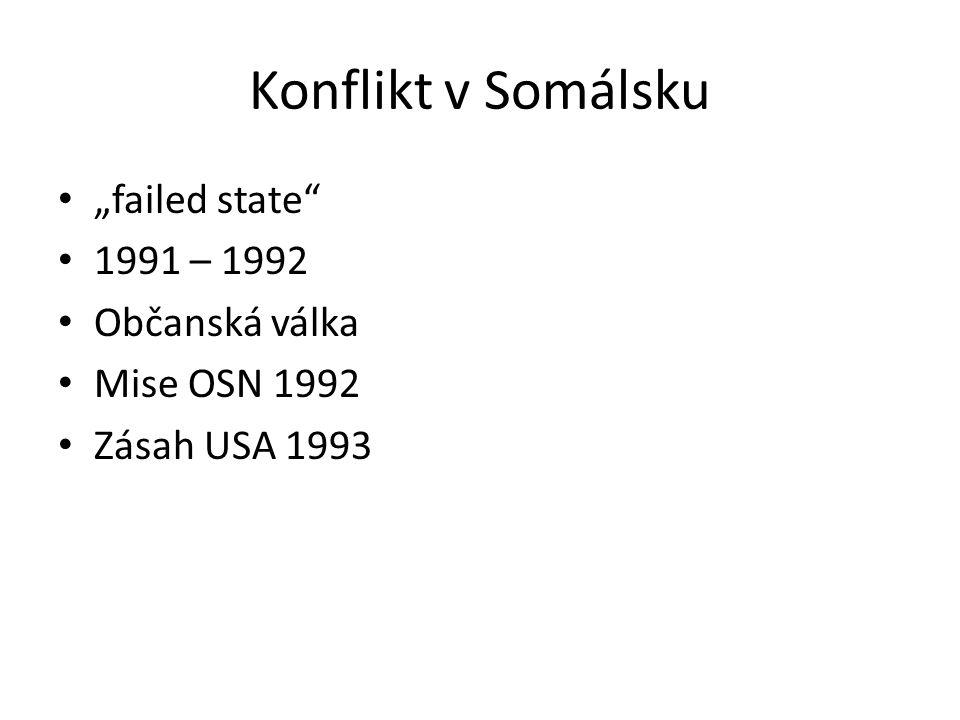 """Konflikt v Somálsku """"failed state"""" 1991 – 1992 Občanská válka Mise OSN 1992 Zásah USA 1993"""