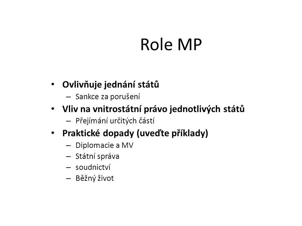 Role MP Ovlivňuje jednání států – Sankce za porušení Vliv na vnitrostátní právo jednotlivých států – Přejímání určitých částí Praktické dopady (uveďte