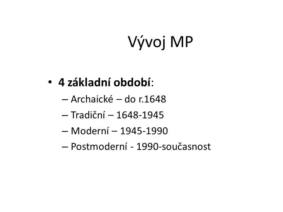 Vývoj MP 4 základní období: – Archaické – do r.1648 – Tradiční – 1648-1945 – Moderní – 1945-1990 – Postmoderní - 1990-současnost