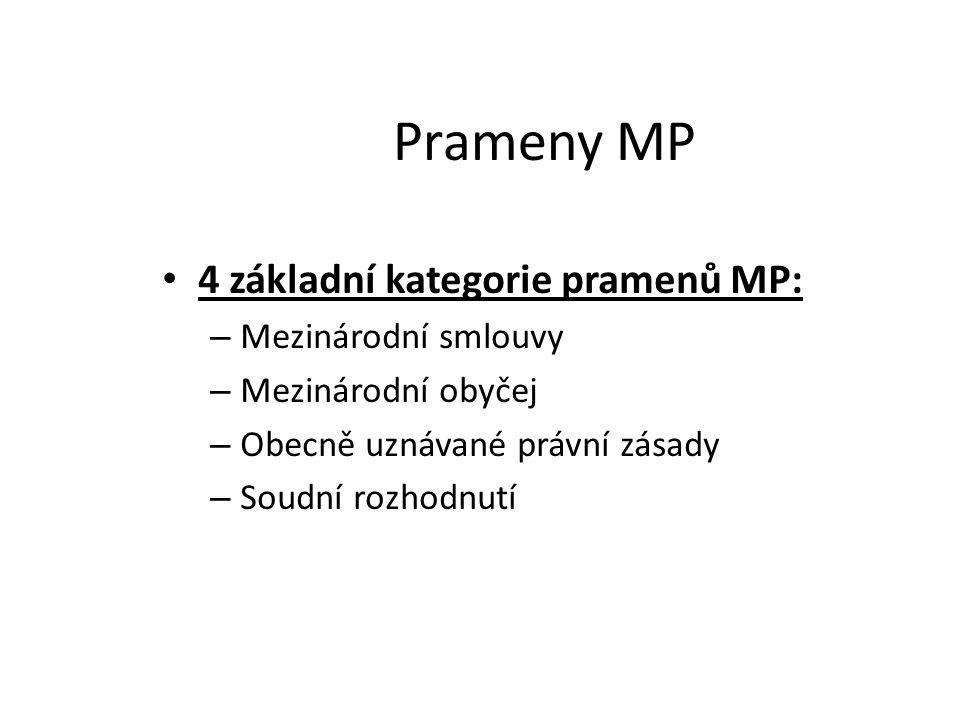 Prameny MP 4 základní kategorie pramenů MP: – Mezinárodní smlouvy – Mezinárodní obyčej – Obecně uznávané právní zásady – Soudní rozhodnutí