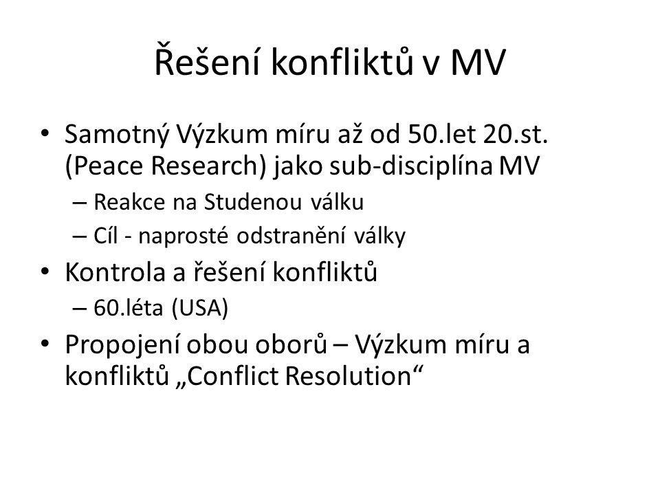 Řešení konfliktů v MV Samotný Výzkum míru až od 50.let 20.st. (Peace Research) jako sub-disciplína MV – Reakce na Studenou válku – Cíl - naprosté odst