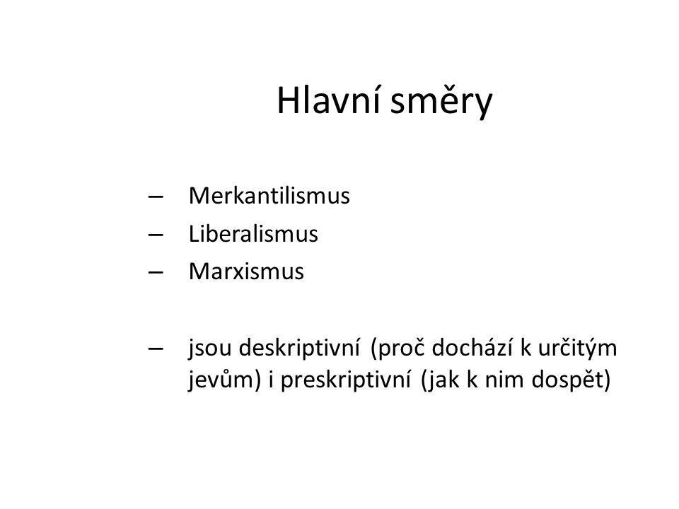 Hlavní směry – Merkantilismus – Liberalismus – Marxismus – jsou deskriptivní (proč dochází k určitým jevům) i preskriptivní (jak k nim dospět)