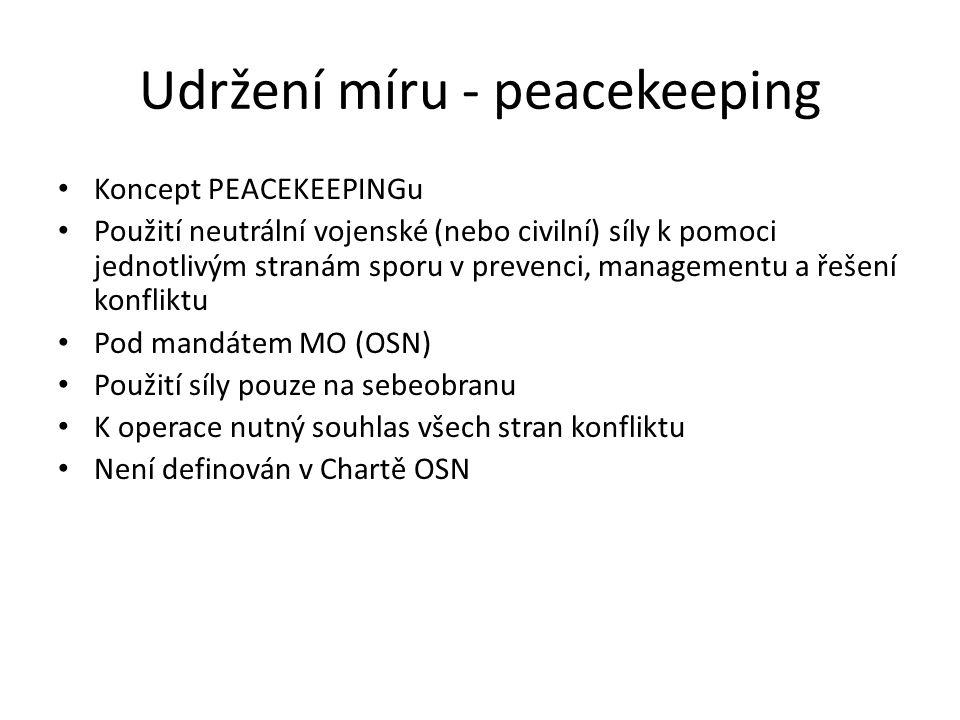 Udržení míru - peacekeeping Koncept PEACEKEEPINGu Použití neutrální vojenské (nebo civilní) síly k pomoci jednotlivým stranám sporu v prevenci, manage