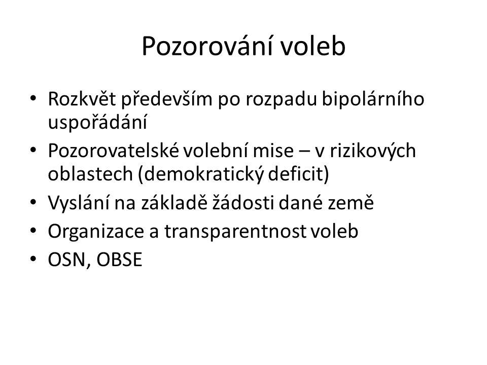 Pozorování voleb Rozkvět především po rozpadu bipolárního uspořádání Pozorovatelské volební mise – v rizikových oblastech (demokratický deficit) Vyslá