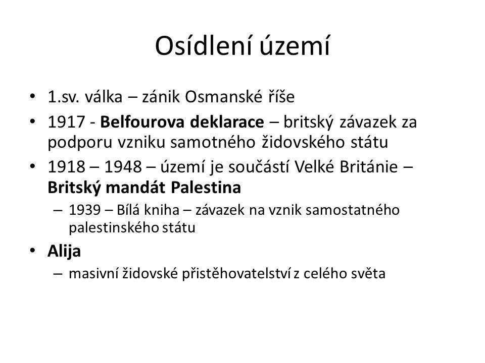 Osídlení území 1.sv. válka – zánik Osmanské říše 1917 - Belfourova deklarace – britský závazek za podporu vzniku samotného židovského státu 1918 – 194