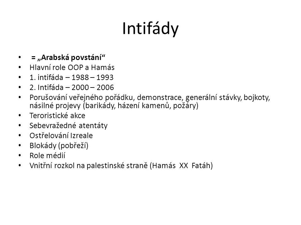 """Intifády = """"Arabská povstání"""" Hlavní role OOP a Hamás 1. intifáda – 1988 – 1993 2. Intifáda – 2000 – 2006 Porušování veřejného pořádku, demonstrace, g"""