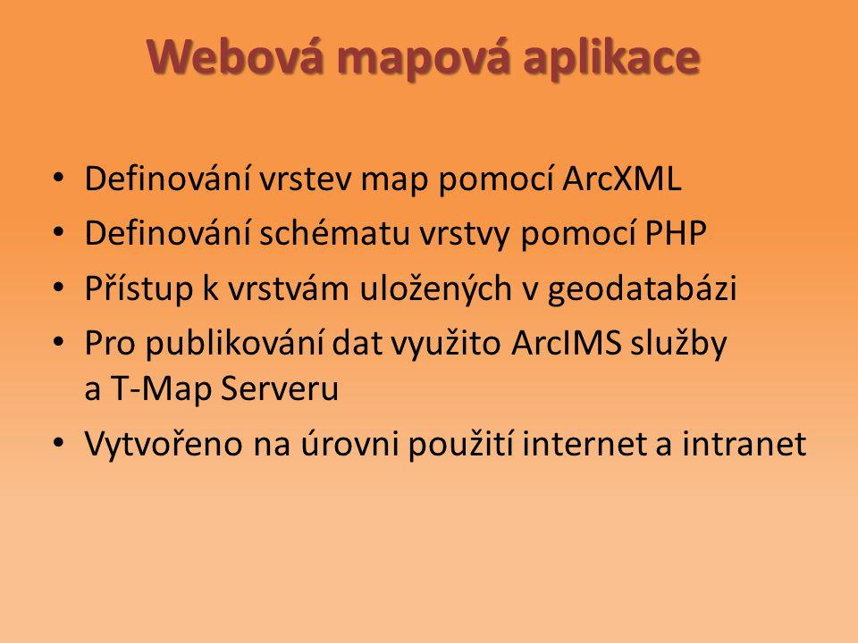Webová mapová aplikace Definování vrstev map pomocí ArcXML Definování schématu vrstvy pomocí PHP Přístup k vrstvám uložených v geodatabázi Pro publikování dat využito ArcIMS služby a T-Map Serveru Vytvořeno na úrovni použití internet a intranet