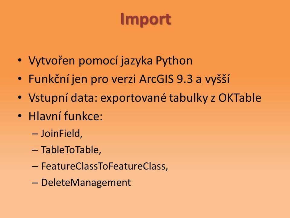 Vytvořen pomocí jazyka Python Funkční jen pro verzi ArcGIS 9.3 a vyšší Vstupní data: exportované tabulky z OKTable Hlavní funkce: – JoinField, – TableToTable, – FeatureClassToFeatureClass, – DeleteManagementImport