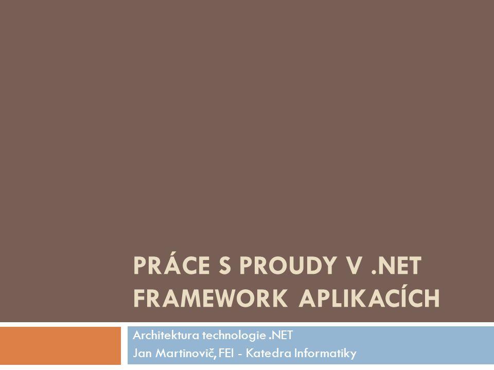 PRÁCE S PROUDY V.NET FRAMEWORK APLIKACÍCH Architektura technologie.NET Jan Martinovič, FEI - Katedra Informatiky