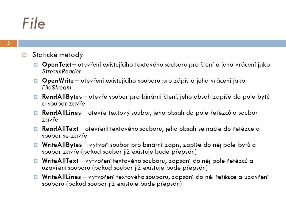 Jak zapisovat do textových souborů string fileName = MujSoubor.txt ; if (File.Exists(fileName)) { Console.WriteLine( Soubor {0} již existuje. , fileName); return; } using (StreamWriter sw = File.CreateText(fileName)) { sw.WriteLine( Toto je testovací soubor. ); sw.WriteLine( Dnes je: {0} , DateTime.Now); } string fileName = MujSoubor.txt ; if (File.Exists(fileName)) { Console.WriteLine( Soubor {0} již existuje. , fileName); return; } using (StreamWriter sw = File.CreateText(fileName)) { sw.WriteLine( Toto je testovací soubor. ); sw.WriteLine( Dnes je: {0} , DateTime.Now); } 14