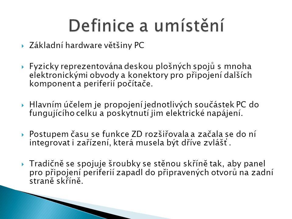 Základní hardware většiny PC  Fyzicky reprezentována deskou plošných spojů s mnoha elektronickými obvody a konektory pro připojení dalších komponen