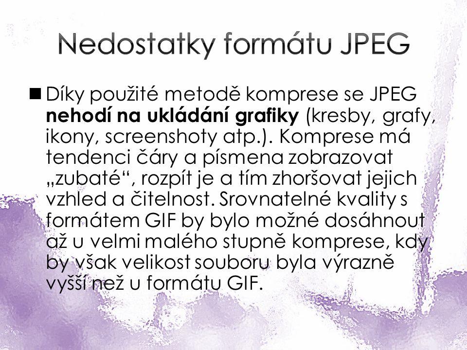 Díky použité metodě komprese se JPEG nehodí na ukládání grafiky (kresby, grafy, ikony, screenshoty atp.).