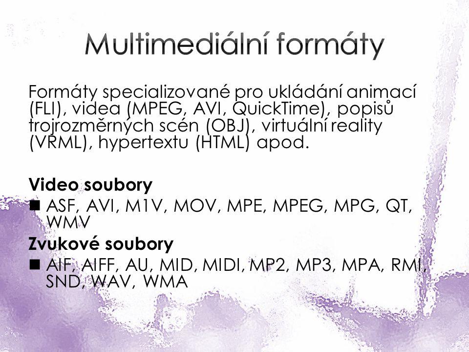 Formáty specializované pro ukládání animací (FLI), videa (MPEG, AVI, QuickTime), popisů trojrozměrných scén (OBJ), virtuální reality (VRML), hypertextu (HTML) apod.