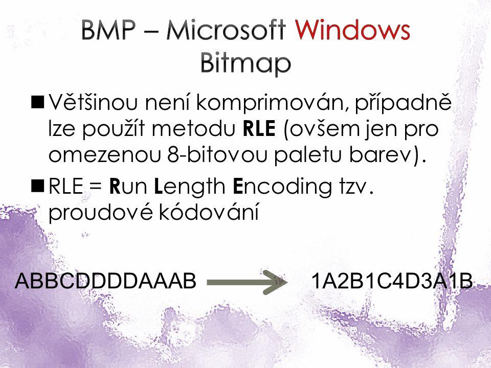 Většinou není komprimován, případně lze použít metodu RLE (ovšem jen pro omezenou 8-bitovou paletu barev).
