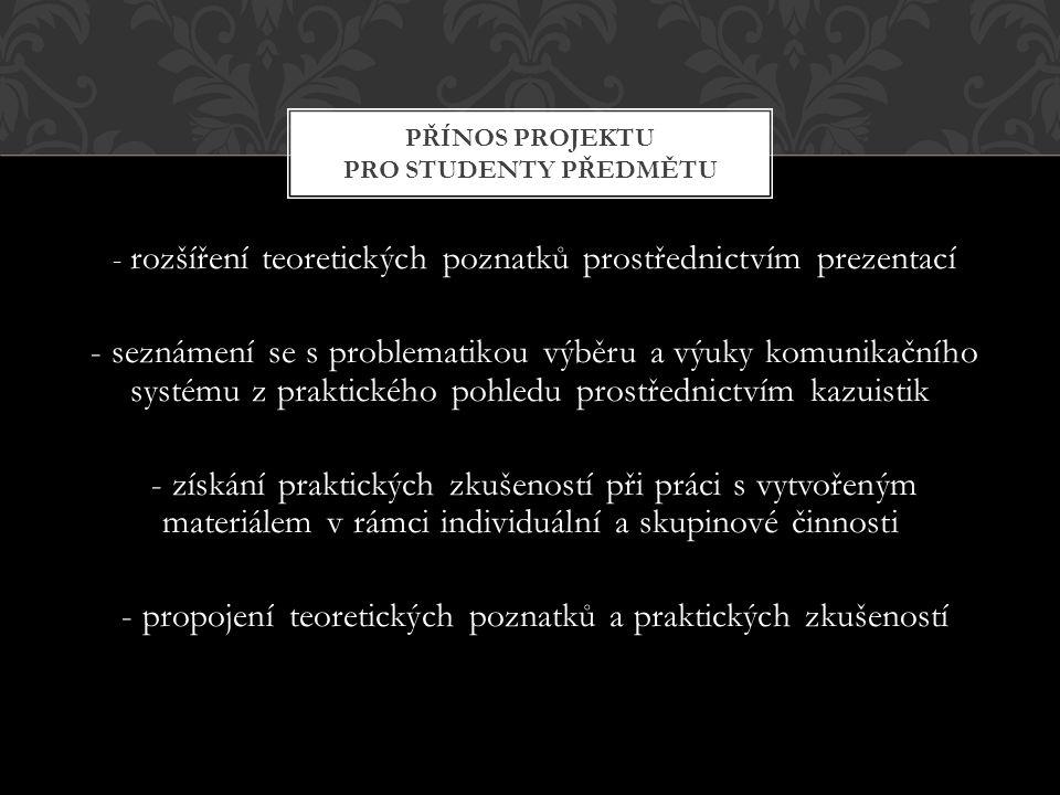 - rozšíření teoretických poznatků prostřednictvím prezentací - seznámení se s problematikou výběru a výuky komunikačního systému z praktického pohledu