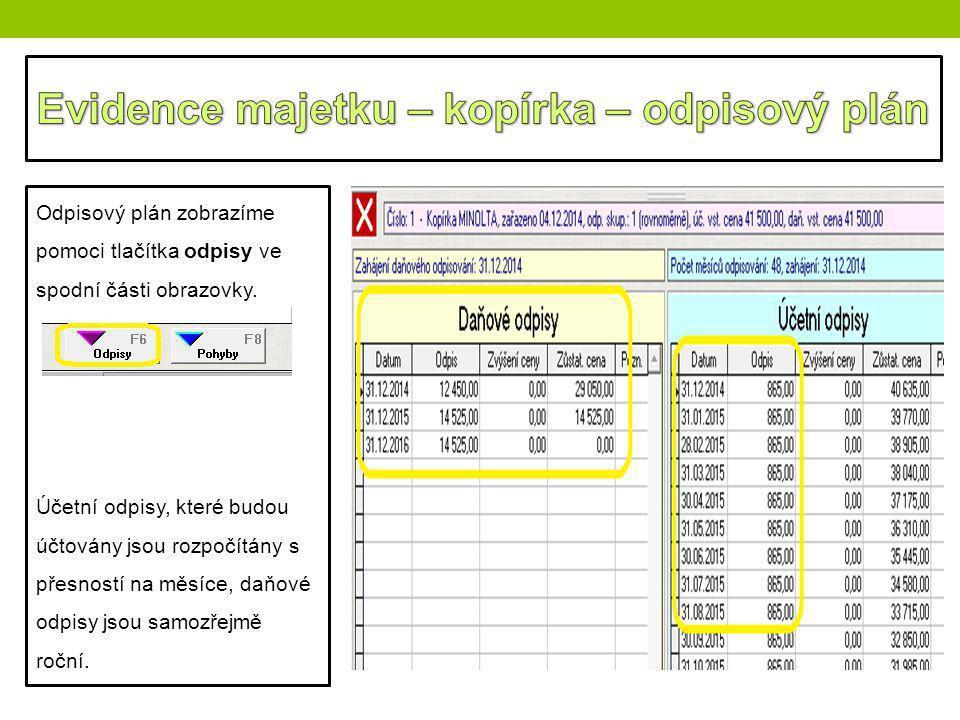 Odpisový plán zobrazíme pomoci tlačítka odpisy ve spodní části obrazovky. Účetní odpisy, které budou účtovány jsou rozpočítány s přesností na měsíce,