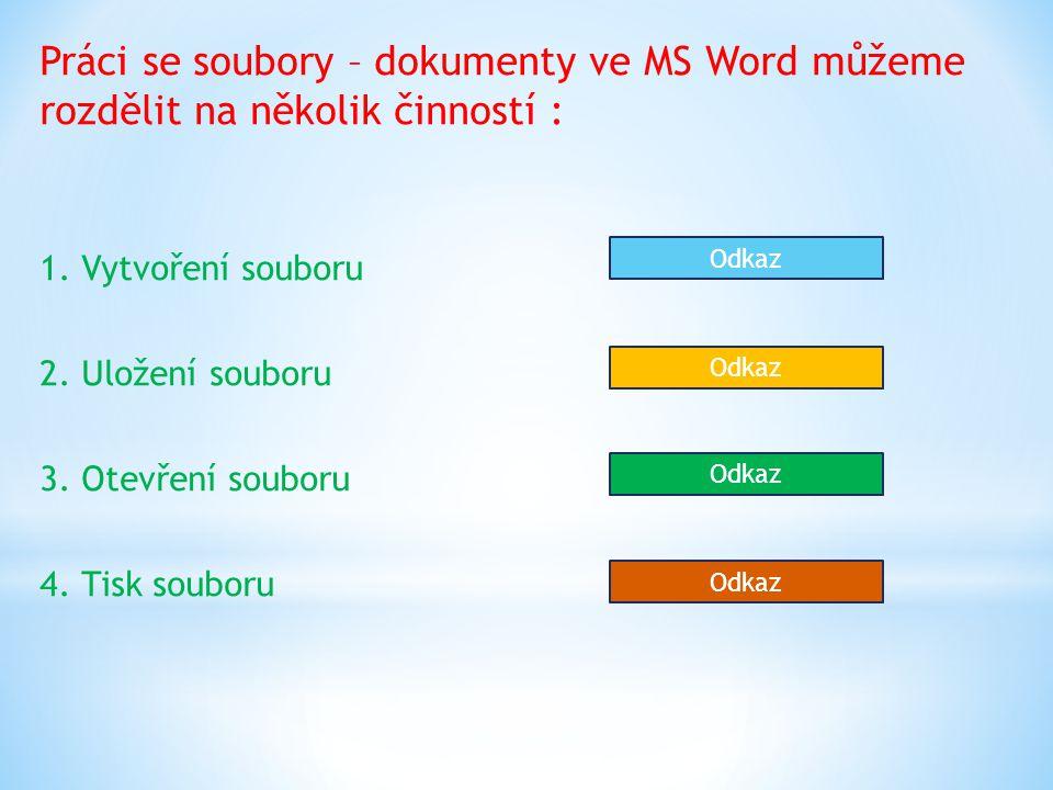 Práci se soubory – dokumenty ve MS Word můžeme rozdělit na několik činností : 1.