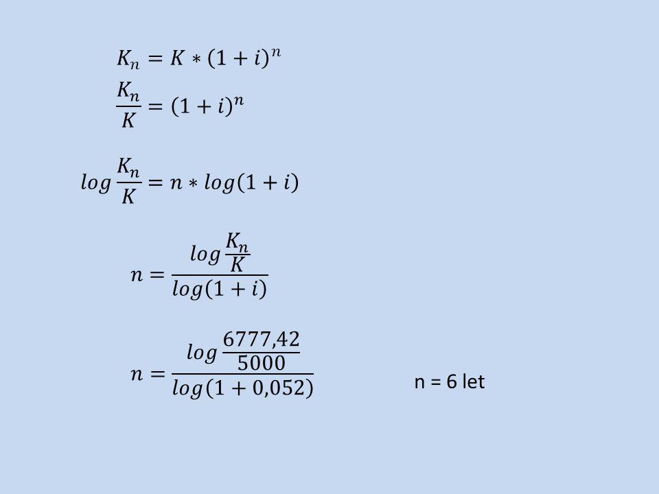 n = 6 let