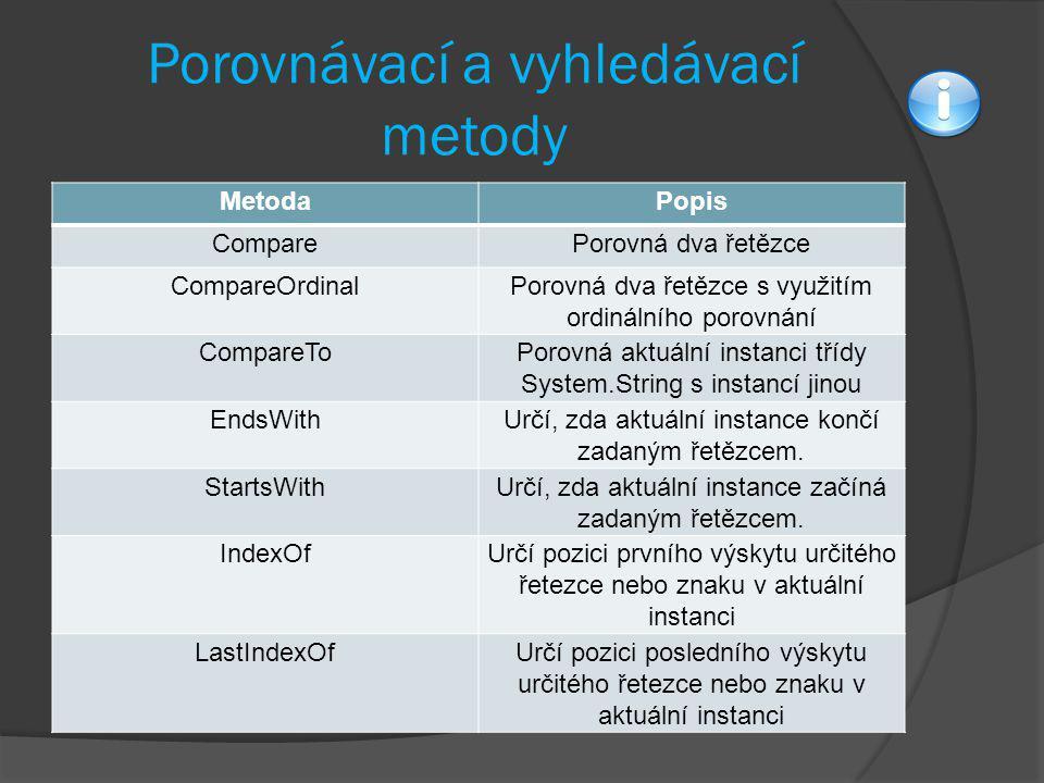 Porovnávací a vyhledávací metody MetodaPopis ComparePorovná dva řetězce CompareOrdinalPorovná dva řetězce s využitím ordinálního porovnání CompareToPo