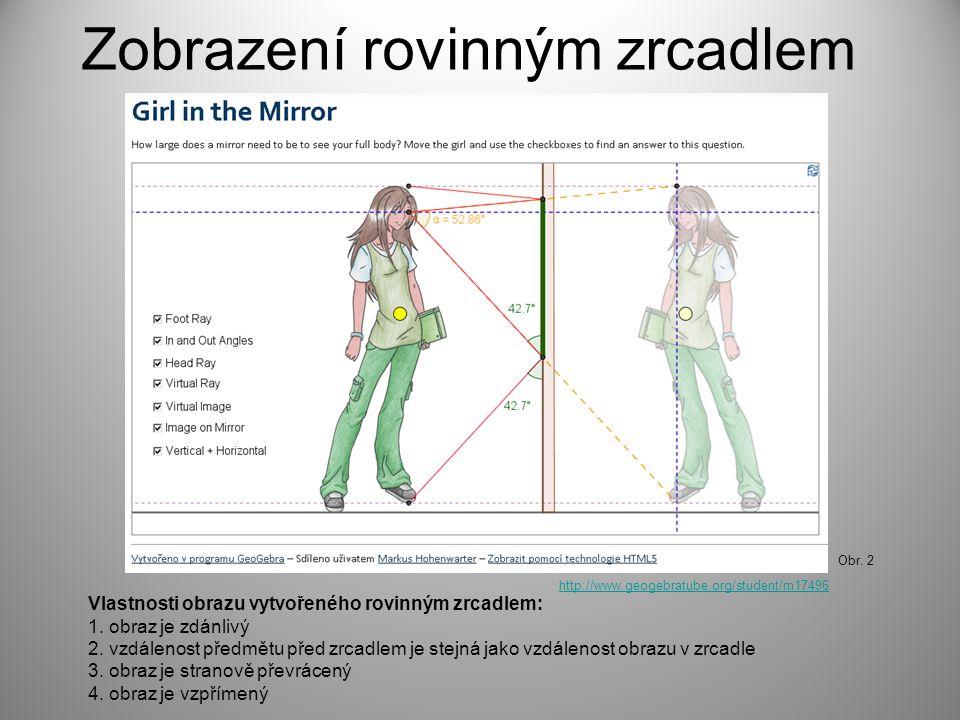 Zobrazení rovinným zrcadlem http://www.geogebratube.org/student/m17496 Obr. 2 Vlastnosti obrazu vytvořeného rovinným zrcadlem: 1. obraz je zdánlivý 2.