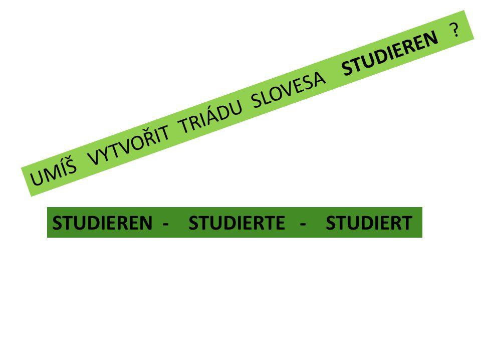 UMÍŠ VYTVOŘIT TRIÁDU SLOVESA STUDIEREN STUDIEREN - STUDIERTE - STUDIERT