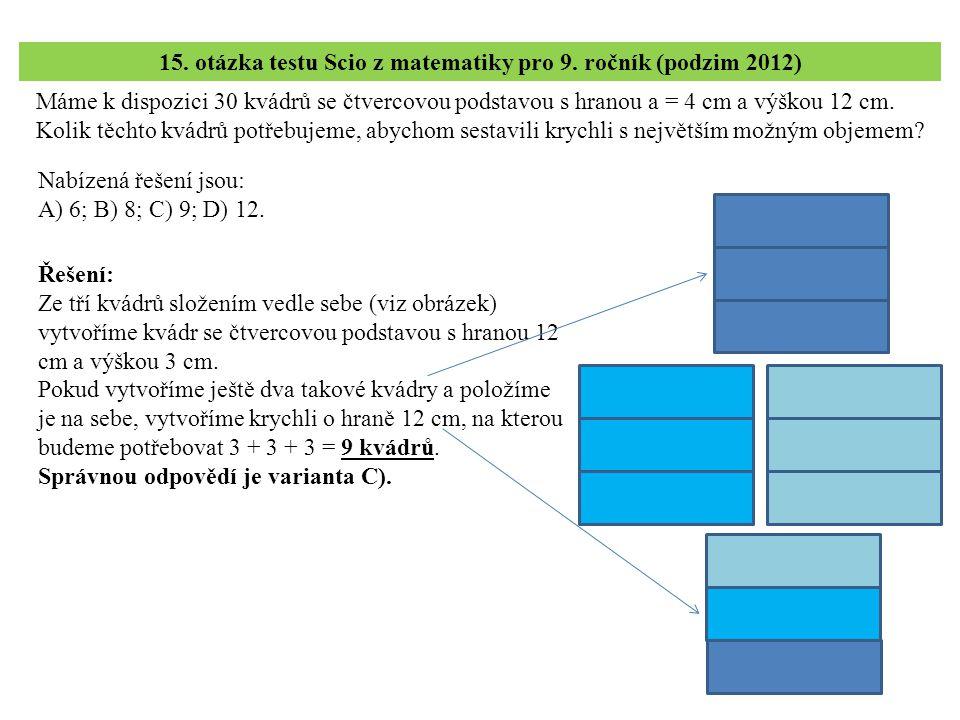 Máme k dispozici 30 kvádrů se čtvercovou podstavou s hranou a = 4 cm a výškou 12 cm. Kolik těchto kvádrů potřebujeme, abychom sestavili krychli s nejv