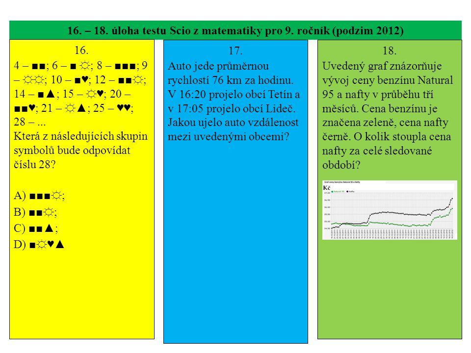 16. – 18. úloha testu Scio z matematiky pro 9. ročník (podzim 2012) 16. 4 – ■■; 6 – ■ ☼; 8 – ■■■; 9 – ☼☼; 10 – ■♥; 12 – ■■☼; 14 – ■▲; 15 – ☼♥; 20 – ■■