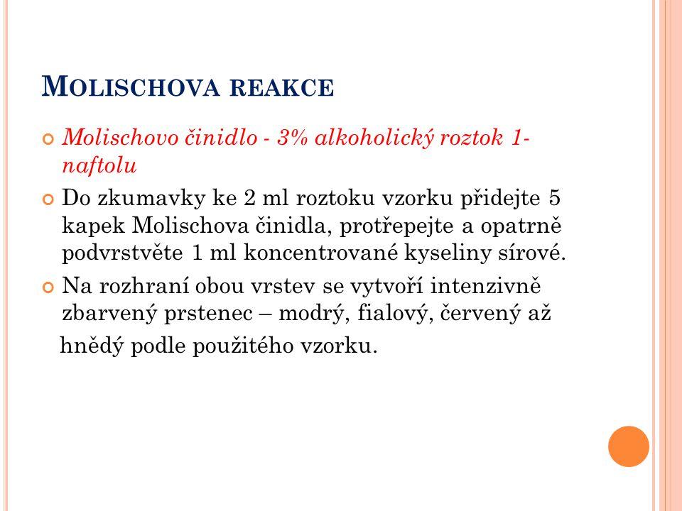 M OLISCHOVA REAKCE Molischovo činidlo - 3% alkoholický roztok 1- naftolu Do zkumavky ke 2 ml roztoku vzorku přidejte 5 kapek Molischova činidla, protř
