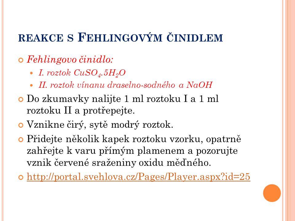 REAKCE S F EHLINGOVÝM ČINIDLEM Fehlingovo činidlo: I. roztok CuSO 4.5H 2 O II. roztok vínanu draselno-sodného a NaOH Do zkumavky nalijte 1 ml roztoku