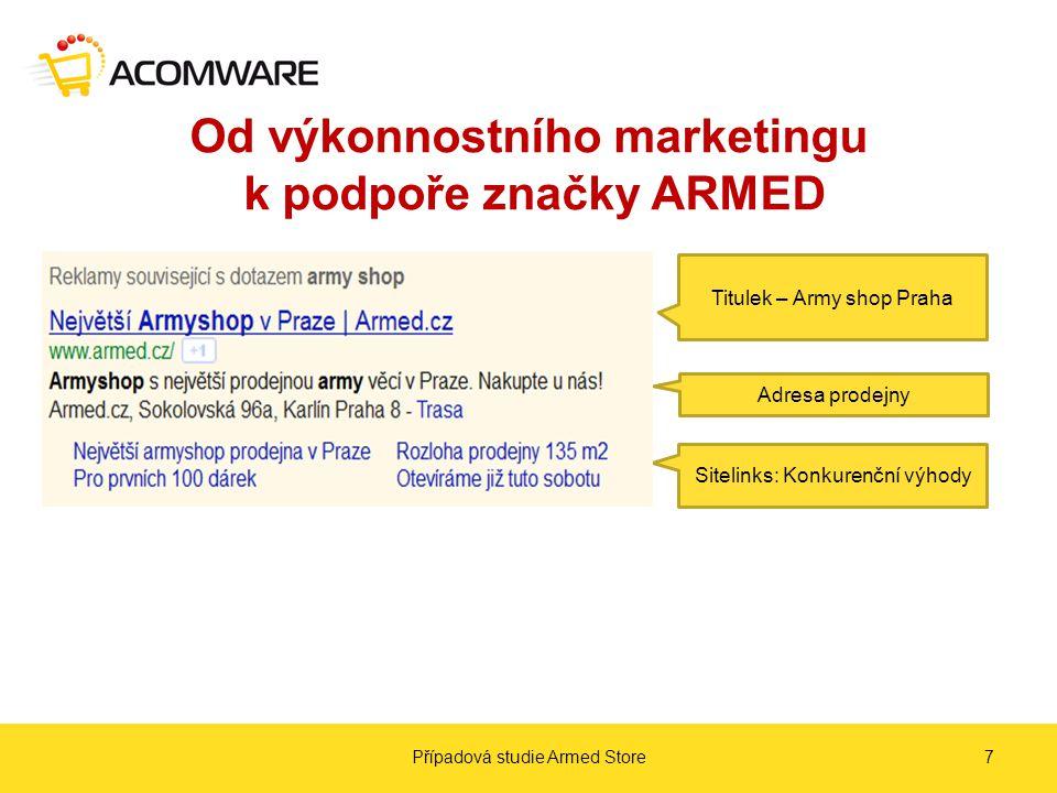 Od výkonnostního marketingu k podpoře značky ARMED Případová studie Armed Store7 Titulek – Army shop Praha Adresa prodejny Sitelinks: Konkurenční výhody