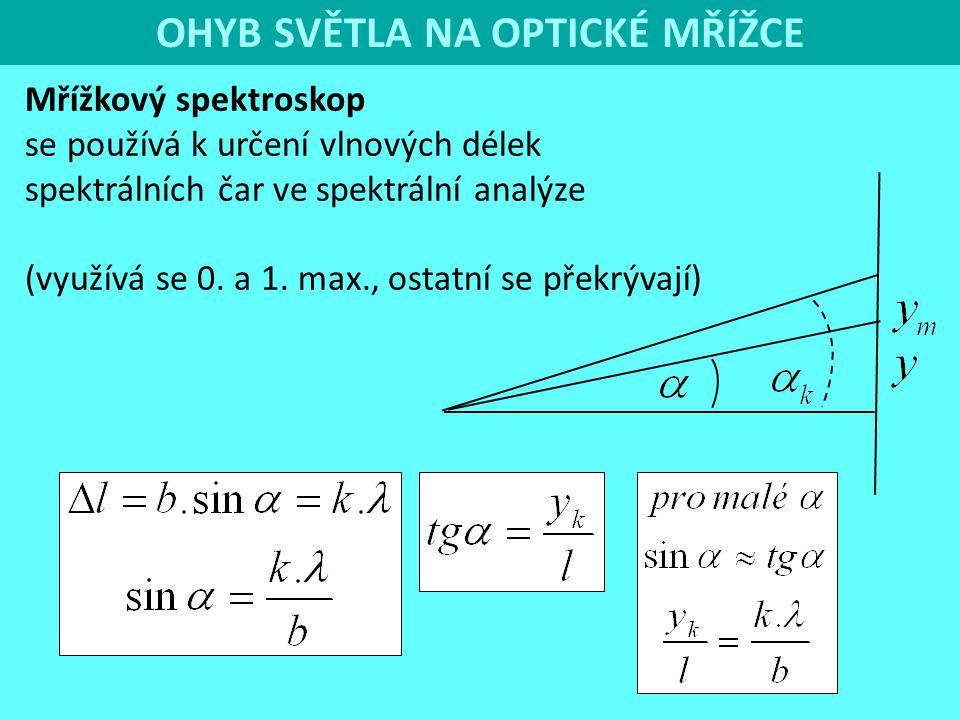 OHYB SVĚTLA NA OPTICKÉ MŘÍŽCE Mřížkový spektroskop se používá k určení vlnových délek spektrálních čar ve spektrální analýze (využívá se 0. a 1. max.,