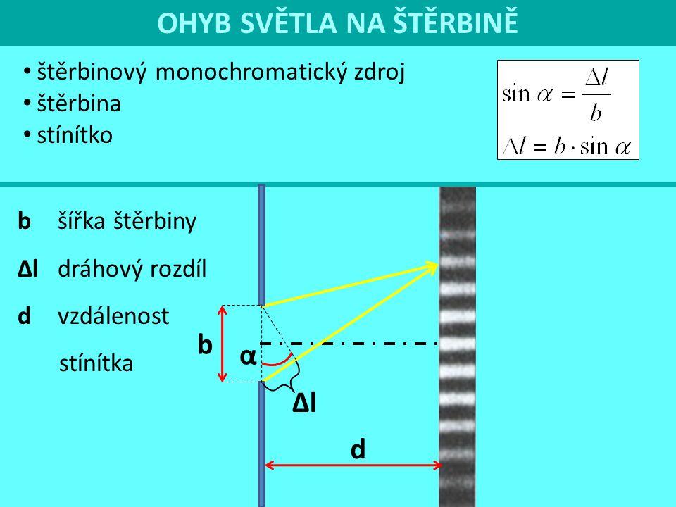 OHYB SVĚTLA NA ŠTĚRBINĚ b α ∆l d b šířka štěrbiny ∆l dráhový rozdíl d vzdálenost stínítka α nulté max.