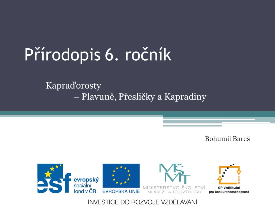 Přírodopis 6. ročník Kapraďorosty – Plavuně, Přesličky a Kapradiny Bohumil Bareš